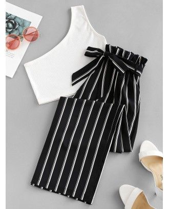 One Shoulder Striped Belted Two Pieces Suit - Multi M