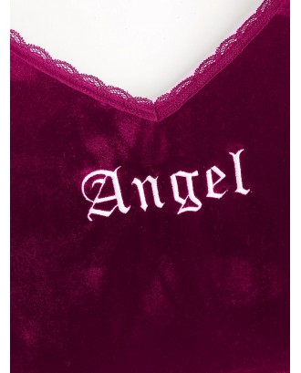 Angel Embroidery Lace Trim Velvet Top - Red Wine S