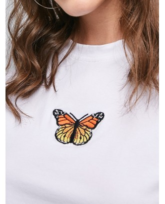Raw Hem Butterfly Embroidered Cropped Tee - White S