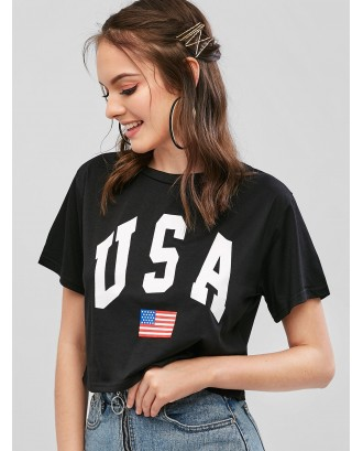 American Flag Letter Graphic Crop Tee - Black L