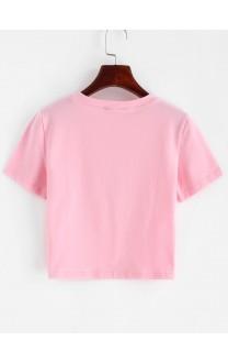 Angel Graphic Short Sleeve Crop T-shirt - Pink S