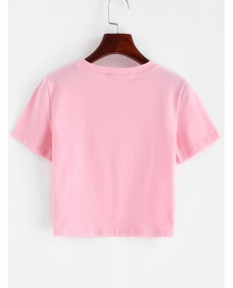 Angel Graphic Short Sleeve Crop T-shirt - Pink S
