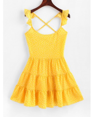 Dotted Lace Up Criss Cross Mini Dress - Yellow S