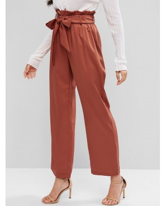 High Waisted Wide Leg Belted Paperbag Pants - Chestnut Red Xl