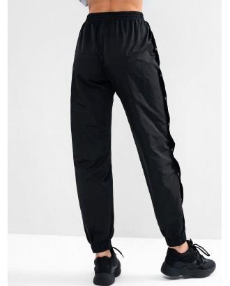 Button Embellished Pocket High Waisted Pants - Black M