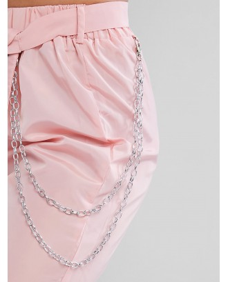 Chains Pocket Buckle Belt Windbreaker Jogger Pants - Pig Pink S