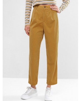 Corduroy Zip Fly High Waisted Pencil Pants - Bee Yellow M