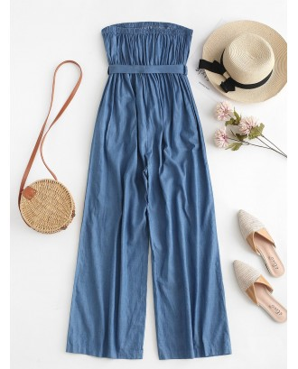 Chambray Pocket Bandeau Jumpsuit - Denim Blue S