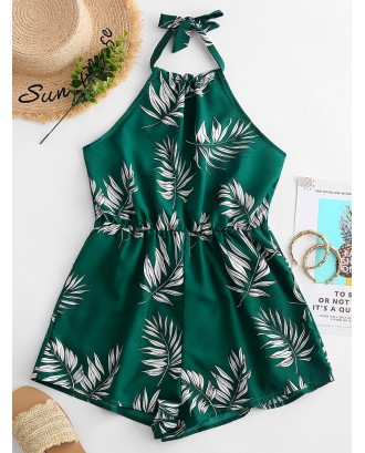 Leaves Print Halter Wide Leg Romper - Green M