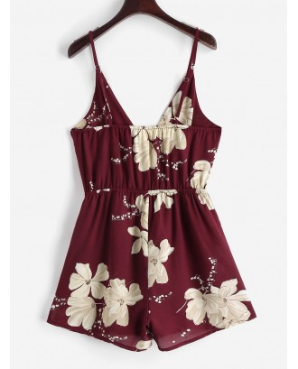 Cami Surplice Floral Romper - Red Wine S