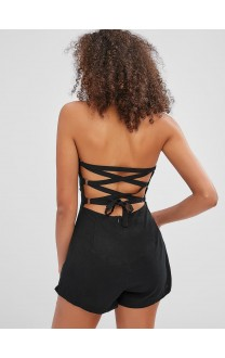 Back Lace-up Bandeau Romper - Black S