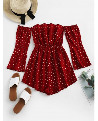 Hearts Print Off Shoulder Flare Sleeve Romper - Red Wine S