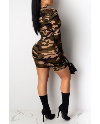 Lovely Casual Camouflage Printed Army Green Two-piece Shorts Set