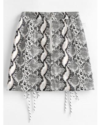 Snake Print Lace Up Faux Leather Mini Skirt - Multi M
