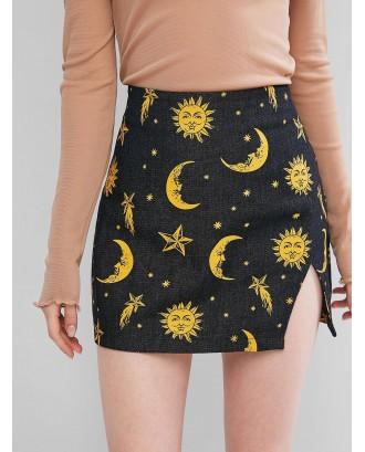 Cut Out Sun And Moon Denim Mini Skirt - Black S