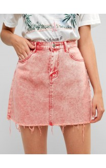 Acid Washed Raw Hem Denim Skirt - Light Coral S