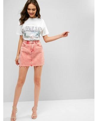 Acid Washed Raw Hem Denim Skirt - Light Coral S