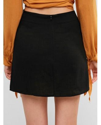 Slit Mini A Line Skirt - Black S