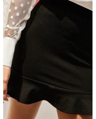Flounce High Waisted Mini Mermaid Skirt - Black S