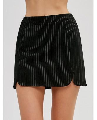 Pinstriped Mini Skirt - Black L