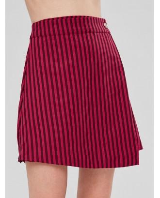 Striped Asymmetric Overlap Skirt - Red L