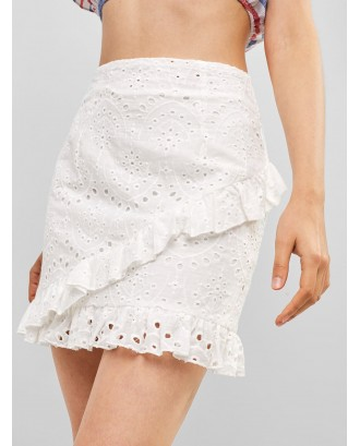Ruffles Eyelet A Line Skirt - White S