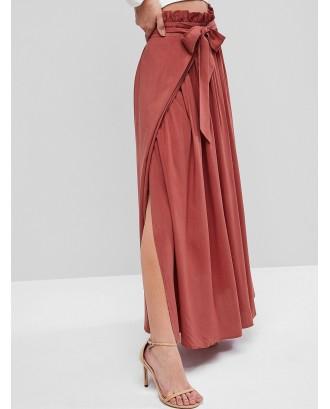 Slit Paperbag Waist Long Skirt - Red Wine Xl