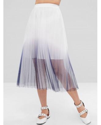Ombre Layered Tulle Full Midi Skirt - White M