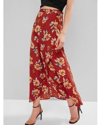 Flower Maxi Wrap Skirt - Chestnut Red M
