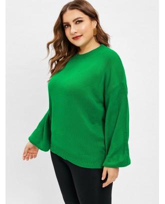 Plus Size Plain Lantern Sleeve Sweater - Clover Green