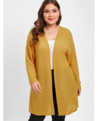 Plus Size Tunic Knit Cardigan - Bee Yellow 2x