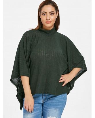 Plus Size Batwing Knitwear Top - Dark Forest Green 3x