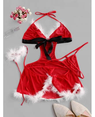 Christmas Cut Out Cosplay Lingerie Babydoll Set - Red S