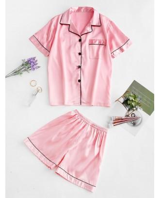 Button Up Piping Satin Pajama Suit - Pig Pink M