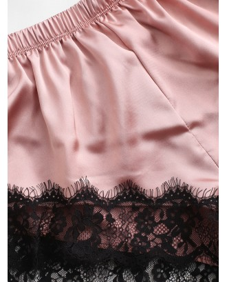 Color Block Lace Insert Satin Pajama Shorts Set - Pink Xl