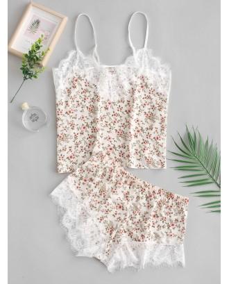 Cami Tiny Flower Lace Insert Pajama Set - Multi-a M