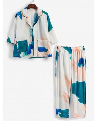 Ink Painting Pocket Drop Shoulder Pajama Pants Set - Multi-a