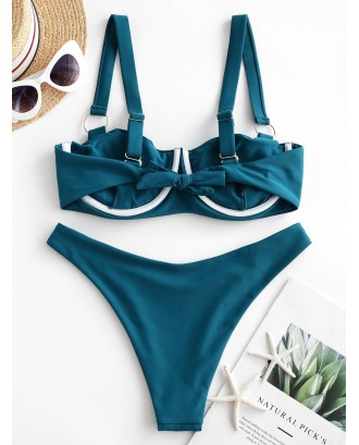 O-ring Underwire Pleated Tie Swimwear Swimsuit - Greenish Blue M