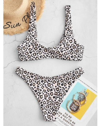 Front Closure High Leg Leopard Swimwear Swimsuit - Leopard M