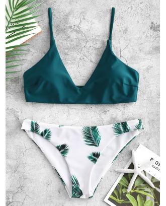 Leaf Print Swimwear Set - Peacock Blue M