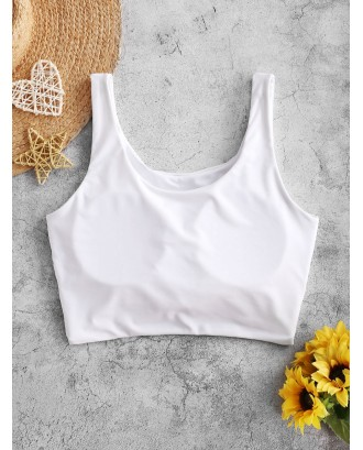 Knotted Padded Plain Swim Top - White S