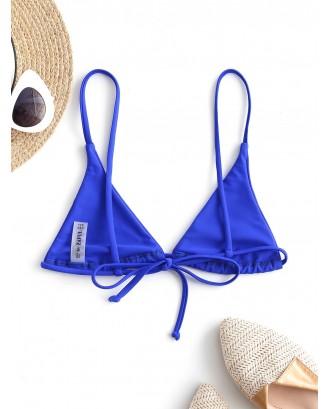 Bralette Plain String Bikini Top - Cobalt Blue S