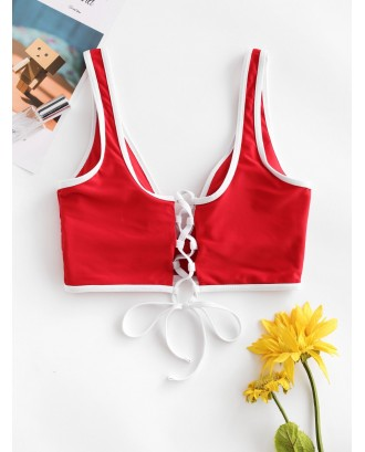 Contrast Piping Plunging Lace Up Swimwear Top - Lava Red M