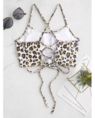 Crisscross Lace-up Leopard Swimwear Top - Multi-a M