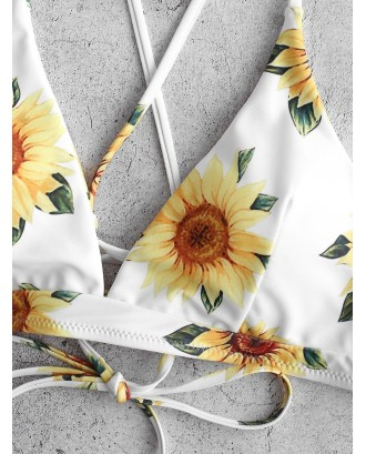 Crisscross Lace-up Sunflower Swimwear Top - White S