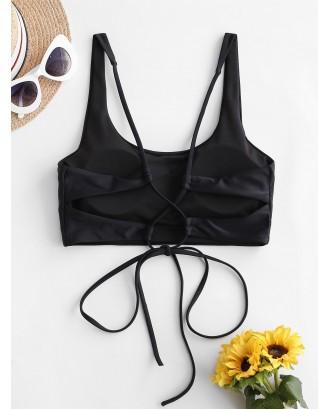 Cross Back U Neck Crop Swimwear Top - Black M
