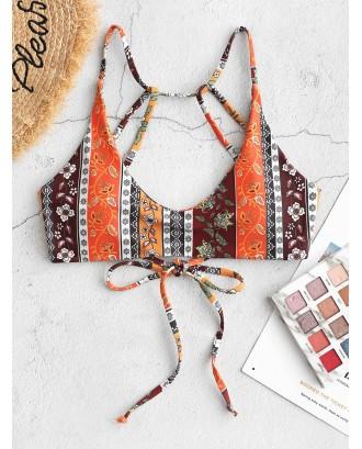 Bohemian Flower Strappy Swimwear Top - Multi-c M