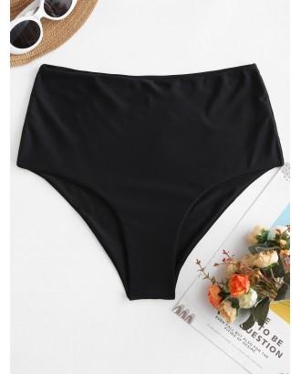 High Waisted Plain Swimwear Bottom - Black M