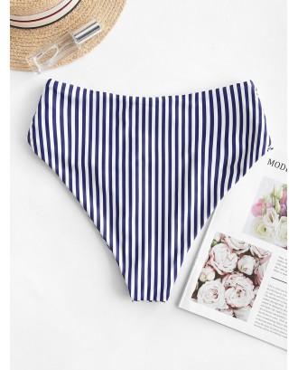 Vertical Striped Ruched High Waisted Swimwear Bottom - Denim Dark Blue M