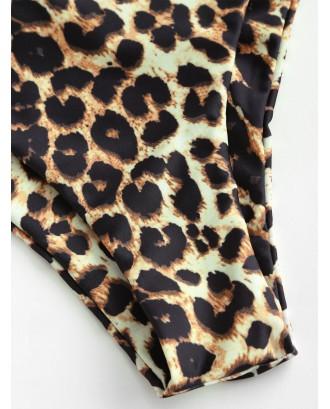 Animal Print High Leg Bikini Bottom - Leopard S